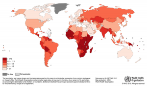 Map showing global impact of cervical cancer 2012