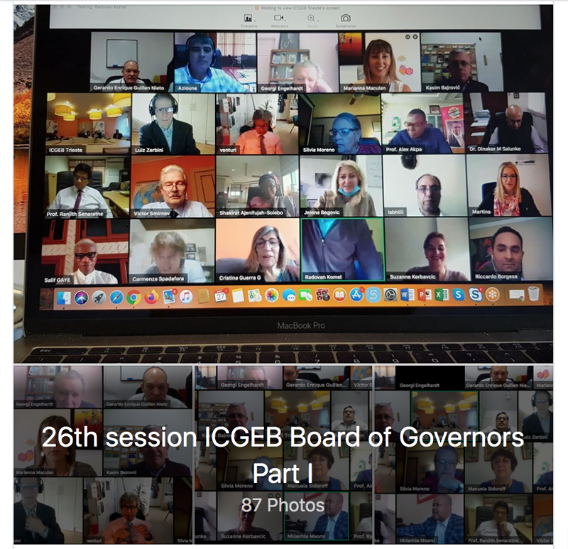 ICGEB Board of Governors 26th session - Part I, virtual meeting, 27 May 2020 Photos @ICGEB Facebook