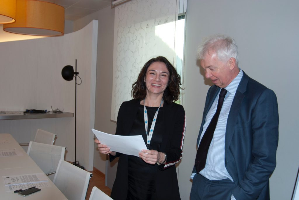 L-R: Natasa Skoko, Biotechnology Development at ICGEB, with Lawrence Banks, Director-General, in the Meeting Room, ICGEB HQ