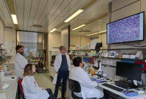 Dimitar Efremov (centro-destra), con i suoi collaboratori, nel laboratorio di Ematologia molecolare all'ICGEB di Trieste